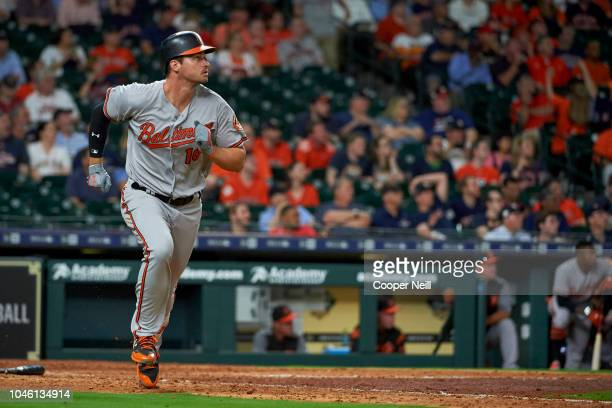 Trey Mancini of the Baltimore Orioles runs the bases after hitting a home run against the Houston Astros at Minute Maid Park on Monday April 2 2018...