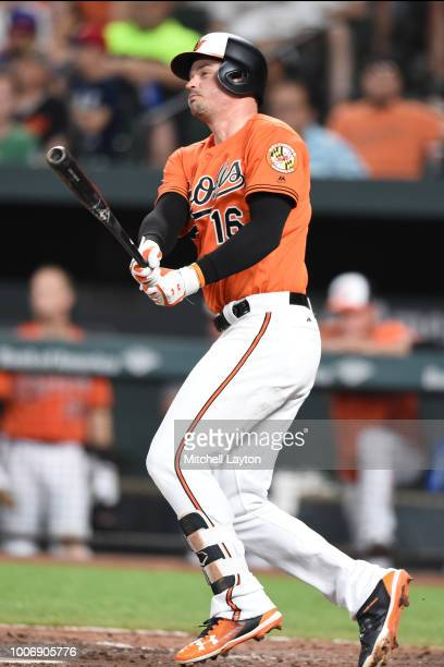 Trey Mancini of the Baltimore Orioles singles in the sixth inning to start the inning during a baseball game against the Tampa Bay Rays at Oriole...