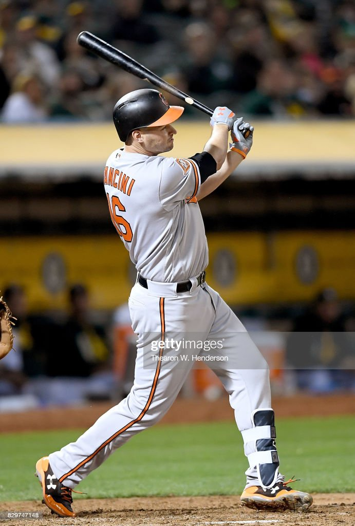 Trey Mancini #16 of the Baltimore Orioles swings and watches the flight of his ball as he hits his second solo home run of the game against the Oakland Athletics in the top of the six inning at Oakland Alameda Coliseum on August 10, 2017 in Oakland, California. The Orioles won the game 7-2.