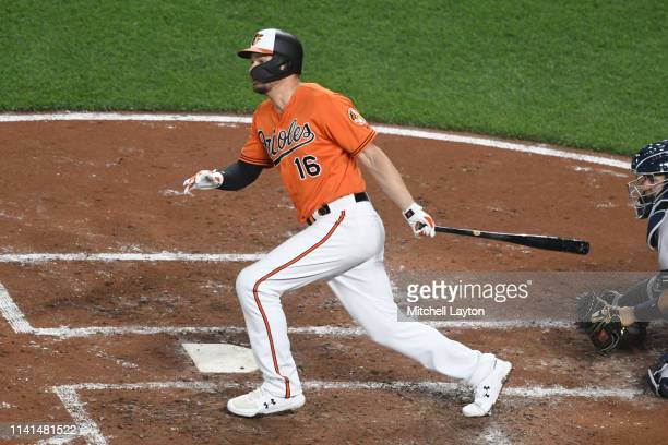 Trey Mancini of the Baltimore Orioles takes a swing during a baseball game against the New York Yankees at Oriole Park at Camden Yards on March 6...