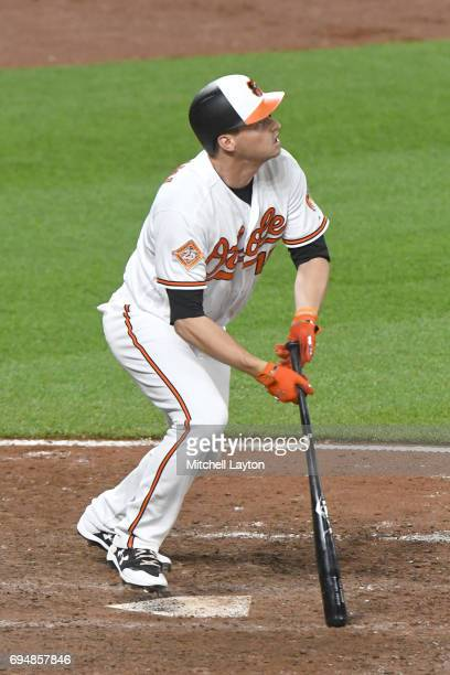 Trey Mancini of the Baltimore Orioles takes a swing during a baseball game against the Pittsburgh Pirates at Oriole Park at Camden Yards on June 7...