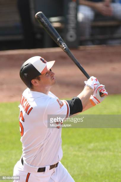 Trey Mancini of the Baltimore Orioles takes a swing during a baseball game against the Houston Astros at Oriole Park at Camden Yards on July 23 2017...