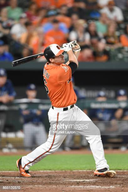 Trey Mancini of the Baltimore Orioles takes a swing during a baseball game against the Tampa Bay Rays at Oriole Park at Camden Yards on September 23...