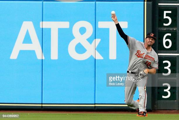 Trey Mancini of the Baltimore Orioles throws the ball back at Minute Maid Park on April 2 2018 in Houston Texas