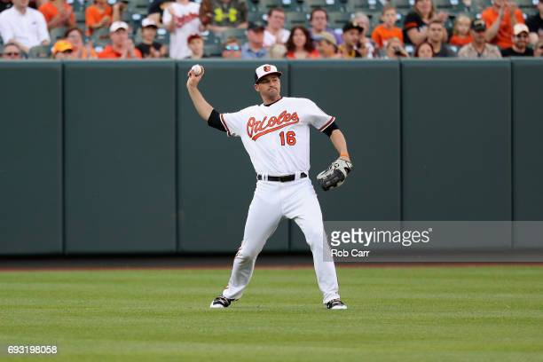 Trey Mancini of the Baltimore Orioles throws the ball in against the Pittsburgh Pirates at Oriole Park at Camden Yards on June 6 2017 in Baltimore...