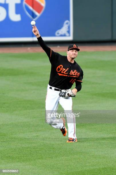 Trey Mancini of the Baltimore Orioles throws the ball in from the outfield against the Cleveland Indians at Oriole Park at Camden Yards on April 20...