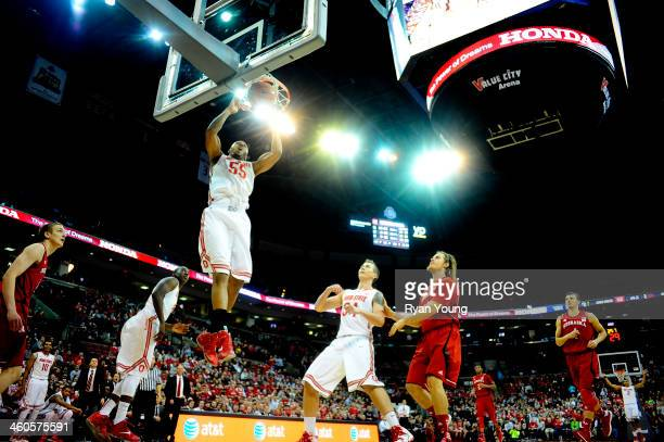 Trey McDonald of the Ohio State Buckeyes goes up for a slam dunk during the game against the Nebraska Cornhuskers on January 4 20114 at Value City...