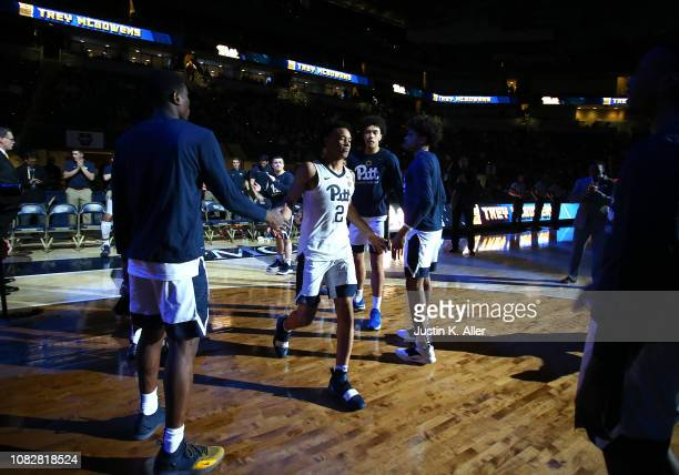 Trey McGowens of the Pittsburgh Panthers is introduced before the game against the Florida State Seminoles at Petersen Events Center on January 14...