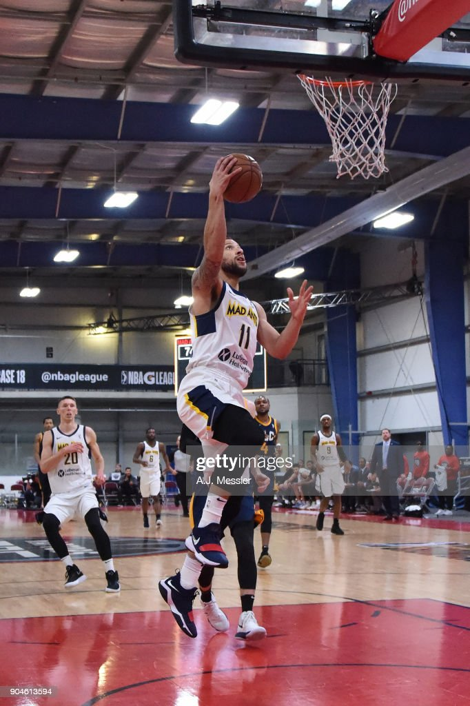 Trey McKinney-Jones #11 of the Fort Wayne Mad Ants handles the ball during the NBA G-League Showcase Game 23 between the Salt Lake City Stars and the Fort Wayne Mad Ants on January 13, 2018 at the Mississauga SportZone in Mississauga, Ontario Canada.