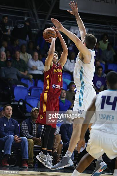 Trey MckinneyJones of the Fort Wayne Mad Ants shoots the ball against the Greensboro Swarm during the game at the The Field House at the Greensboro...