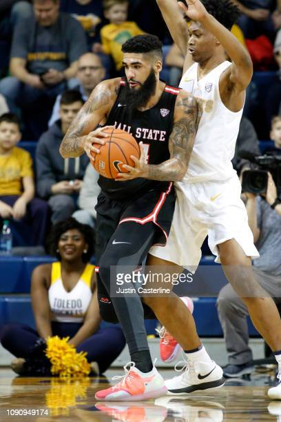 Trey Moses of the Ball State Cardinals in action in the game against the Toledo Rockets during the second half at Savage Arena on January 04 2019 in...