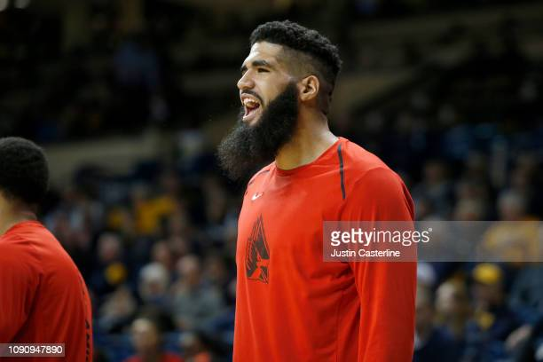 Trey Moses of the Ball State Cardinals reacts after a play in the game against the Toledo Rockets during the second half at Savage Arena on January...