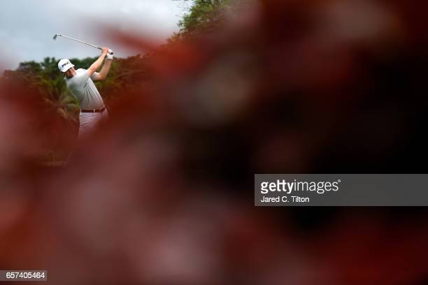 Trey Mullinax plays his tee shot on the third hole during the second round of the Puerto Rico Open at Coco Beach on March 24 2017 in Rio Grande...
