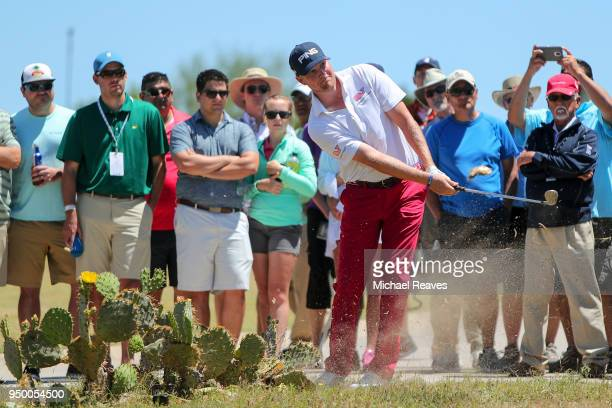 Trey Mullinax plays his third shot on the sixth hole during the final round of the Valero Texas Open at TPC San Antonio ATT Oaks Course on April 22...