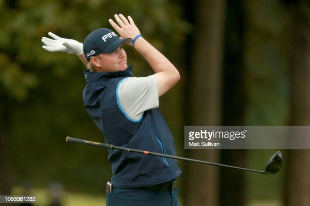Trey Mullinax reacts to his shot from the 18th tee during Sanderson Farms Championship Round One on October 25 2018 in Jackson Mississippi
