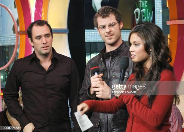 Trey Parker and Matt Stone with MTV VJ La La Vasquez