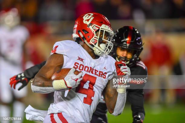 Trey Sermon of the Oklahoma Sooners breaks free for a touchdown during the second half of the game against the Texas Tech Red Raiders on November 3...