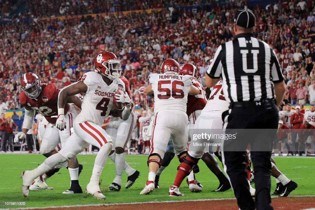Trey Sermon Of The Oklahoma Sooners Scores A Touchdown In The Second
