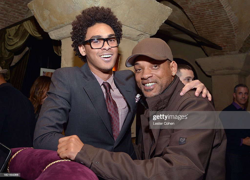 Trey Smith aka DJ AcE and actor Will Smith attend Vanity Fair and L'Oréal Paris-hosted D.J. Night with Freida Pinto in support of 10 x 10 and 'Girl Rising' at Teddy's at The Hollywood Roosevelt Hotel on February 19, 2013 in Los Angeles, California.