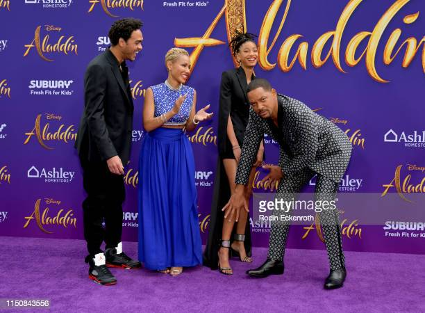 Trey Smith Jada Pinkett Smith Willow Smith and Will Smith attend the premiere of Disney's Aladdin at El Capitan Theatre on May 21 2019 in Los Angeles...