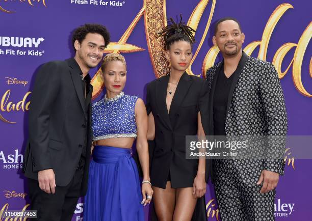 Trey Smith Jada Pinkett Smith Willow Smith and Will Smith attend the premiere of Disney's Aladdin on May 21 2019 in Los Angeles California