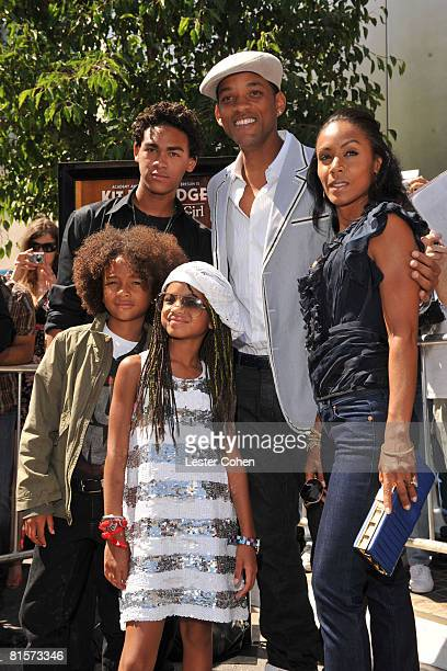 Trey Smith Jaden Smith Will Smith Jada Pinkett Smith and Willow Smith attend the premiere of Kit Kittredge An American Girl at The Grove on June 14...