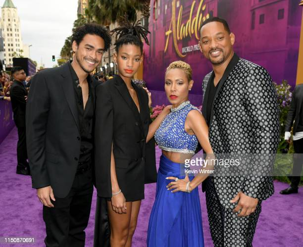 Trey Smith Willow Smith Jada Pinkett Smith and Will Smith arrive at the premiere of Disney's Aladdin at the El Capitan Theater on May 21 2019 in Los...
