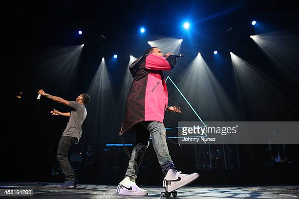 Trey Songz and Chris Brown perform during the 2014 Power 1051 Powerhouse concert at Barclays Center on October 30 2014 in the Brooklyn borough of New...