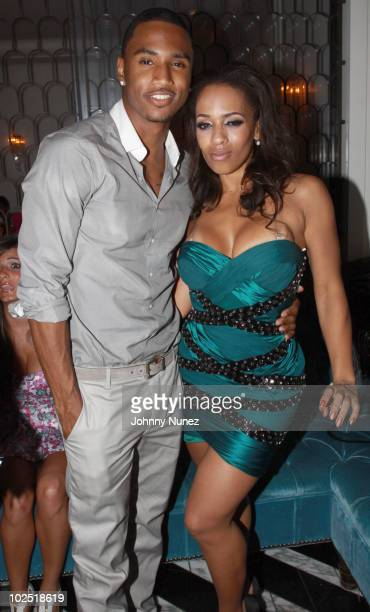 Trey Songz and Melyssa Ford attend the Atlantic Records Party Presented By Swaggat Cecconi's Restaurant on June 27 2010 in Los Angeles California
