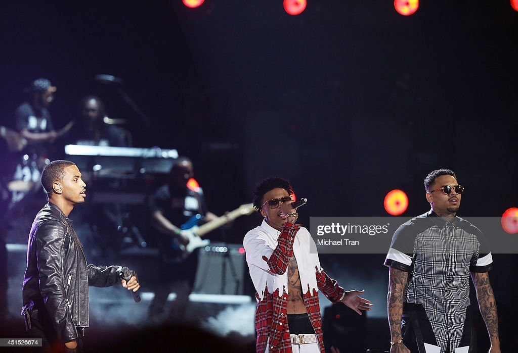 Trey Songz, August Alsina and Chris Brown perform onstage during the 'BET AWARDS' 14 held at Nokia Theater L.A. LIVE on June 29, 2014 in Los Angeles, California.