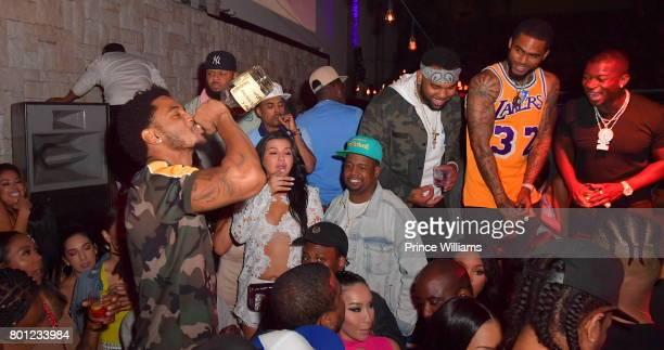 Trey Songz Dave East and OT Genasis Seen at Le Jardin Nightclub on June 23 2017 in Los Angeles California