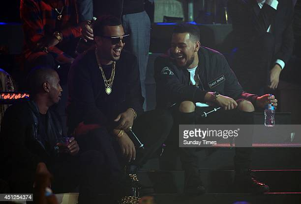 Trey Songz French Montana and AKA at the MTV Africa Music Awards on June 7 2014 in Durban South Africa The awards were held at Chief Albert Luthuli...