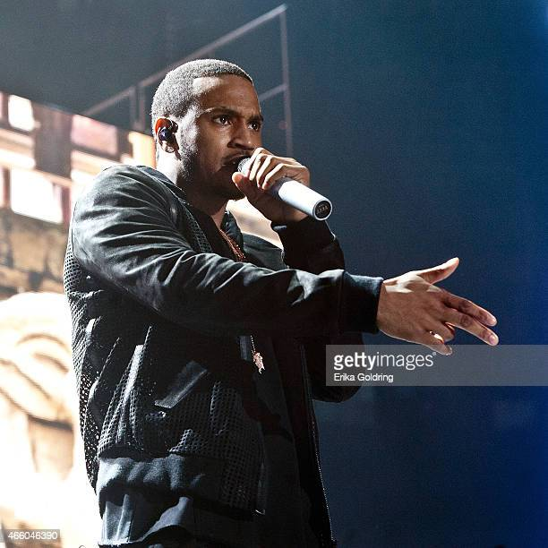 Trey Songz performs during the Between The Sheets Tour at Smoothie King Center on March 12 2015 in New Orleans Louisiana
