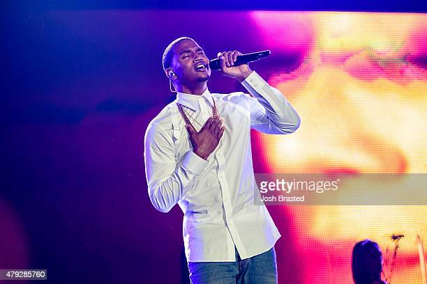 Trey Songz performs on stage during the 2015 Essence Music Festival on July 2 2015 in New Orleans Louisiana