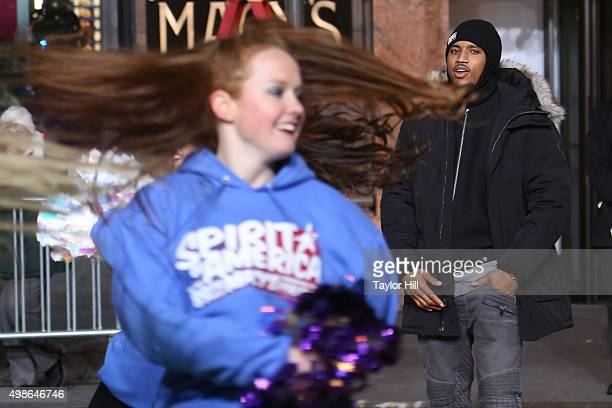 Trey Songz performs with the Spirit of America cheerleaders during Macy's Thanksgiving Day Parade rehearsals at Herald Square on November 24 2015 in...