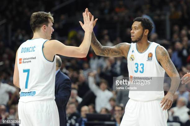 Trey Thompkins #33 center of Real Madrid and Luka Doncic #7 guard of Real Madrid during the 2017/2018 Turkish Airlines Euroleague Regular Season...