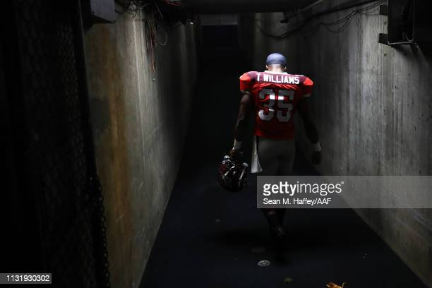 Trey Williams of the San Antonio Commanders walks off the field after a game against the San Diego Fleet at SDCCU Stadium on February 24 2019 in San...