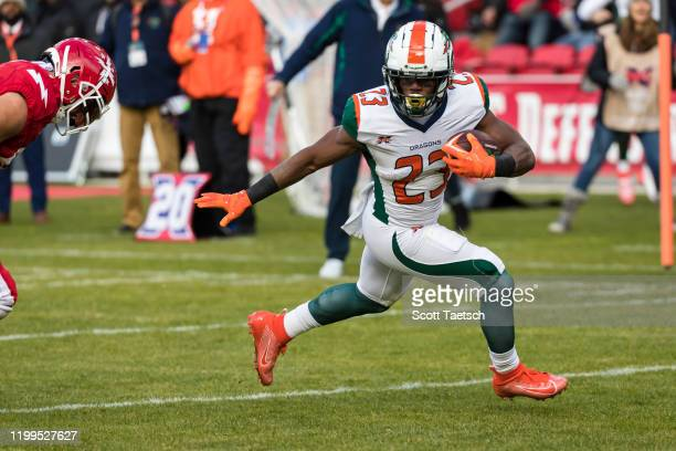 Trey Williams of the Seattle Dragons scores a touchdown against the DC Defenders during the first half of the XFL game at Audi Field on February 8,...