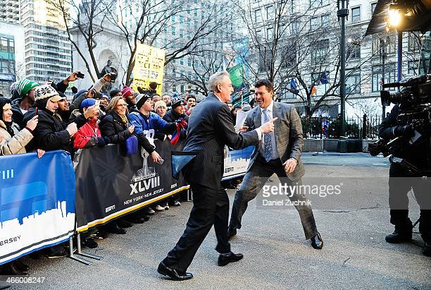 Trey Wingo and Mark Schlereth attend Super Bowl Boulevard on January 30 2014 in New York City