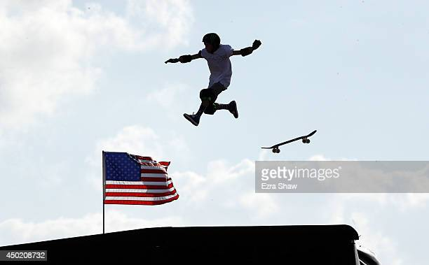 Trey Wood loses control of his board while he warms up for round one of the Skateboard Big Air competitioin during the X Games Austin at Circuit of...