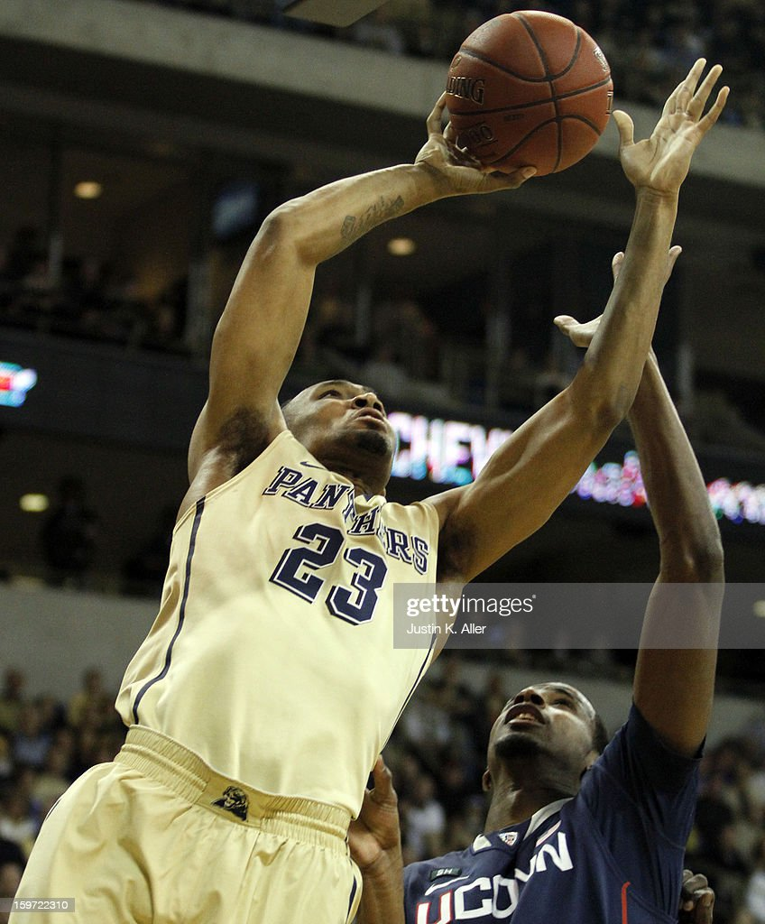 Trey Zeigler #23 of the Pittsburgh Panthers attempts a layup against the Connecticut Huskies at Petersen Events Center on January 19, 2013 in Pittsburgh, Pennsylvania.