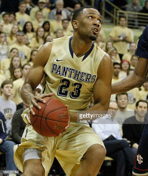 Trey Zeigler of the Pittsburgh Panthers handles the ball against the Connecticut Huskies at Petersen Events Center on January 19, 2013 in Pittsburgh,...