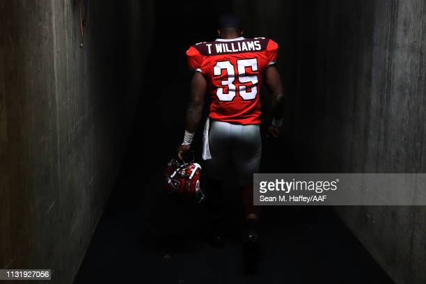 TreyWilliams of San Antonio Commanders leaves the field following an Alliance of American Football game against the San Diego Fleet at SDCCU Stadium...