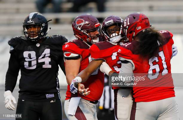 TreyWilliams of the San Antonio Commanders celebrates with teammates after rushing for a 12yard touchdown during the third quarter against the...
