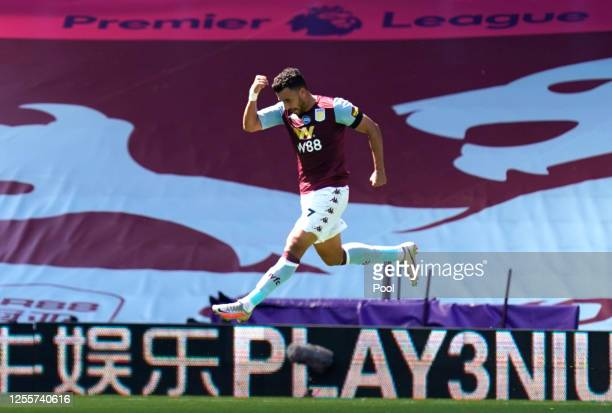 Trezeguet of Aston Villa celebrates after scoring his sides first goal during the Premier League match between Aston Villa and Crystal Palace at...