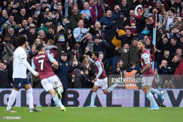 Trezeguet of Aston Villa celebrates after scoring his team's first goal during the Premier League match between Aston Villa and Liverpool FC at Villa...