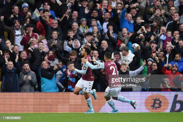 Trezeguet of Aston Villa celebrates after scoring his team's first goal with Anwar El Ghazi during the Premier League match between Aston Villa and...
