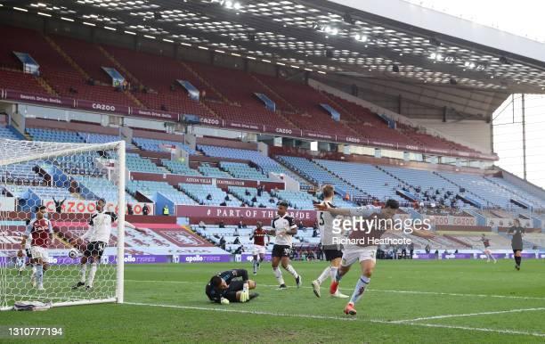 Trezeguet of Aston Villa celebrates after scoring their side's second goal during the Premier League match between Aston Villa and Fulham at Villa...