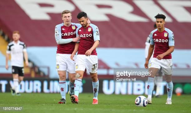 Trezeguet of Aston Villa celebrates with team mate Matt Targett after scoring their side's first goal during the Premier League match between Aston...
