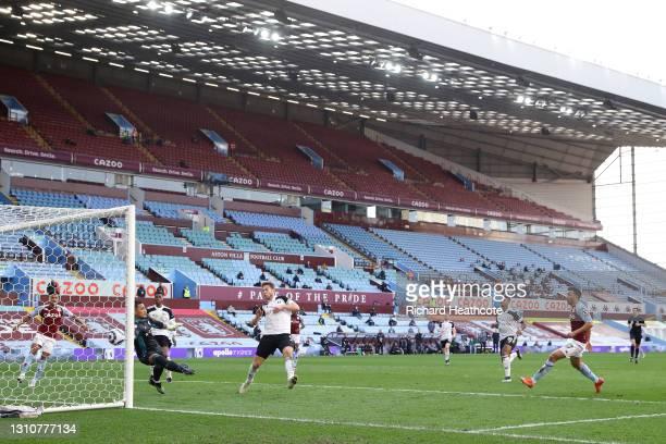 Trezeguet of Aston Villa scores their side's second goal during the Premier League match between Aston Villa and Fulham at Villa Park on April 04,...